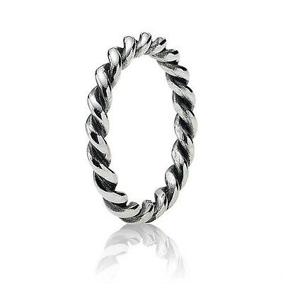 Genuine Sterling Silver 925 Twisted Stacking Ring Sizes 50, 52, 54, 56, 58