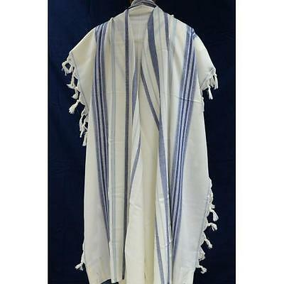 "Jewish Tallit Prayer Shawl Kosher 100% Pure Wool 55x75"" 60 blue lightBlue silver"