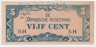 (N2-137) 1942 Japan VIJF cent banknote (E)