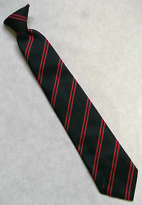Vintage Clip-On Tie Old School Boys Ready Tied 1970's 1980's Black Red Stripe