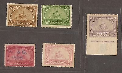 5 Different Unused United States 1898 Proprietary Stamps