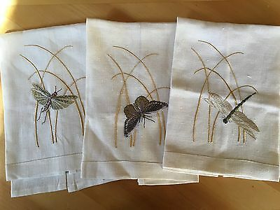 Three Flax Linen Embroidered Butterfly and Dragon Fly Hand Towels
