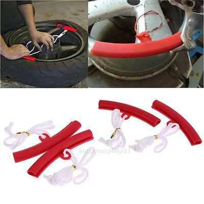 2pcs Motorcycle Car Saver Changing Tyre Tire Wheel Guard Rim Edge Protector Red