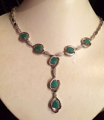"""79.80Ct Rare Natural Top Rich Green Colombian Emerald 925 Silver Necklace 23"""""""