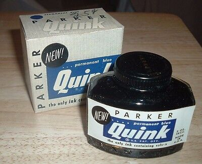 Vintage PARKER QUINK Permanent Blue Ink Solv-X Glass Bottle in Original Box NOS