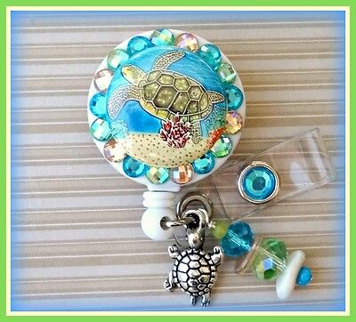 SEA TURTLE RETRACTABLE ID REEL BLING BADGE HOLDER with Charms Nurse,Teacher, etc