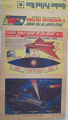 Space Flight to the Moon #4 Quaker Puffed Rice Cereal box back excellent 1953