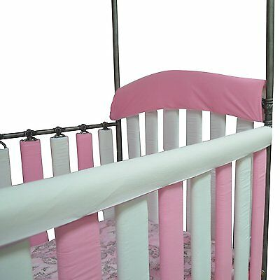 "Go Mama Go Organic Teething Guard Protects Baby and Crib, Pink/White, 52"" x 6"""