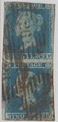"Pair of GB QV 2d Pale Blue SG13 Two Pence IMPERF ""SF/TF"" 1841-51 Used Stamps"