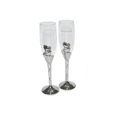 Pair Wedding Day CHAMPAGNE FLUTES GOBLETS Toast GLASSES Silver Hearts Crystals