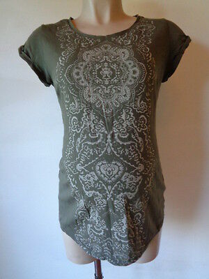 H&m Mama Maternity Grey Print T-Shirt Top Size S 8-10