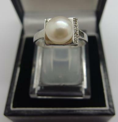 925 Sterling Silver ring White Freshwater Cultured Pearl Ring Size O  7 US  #28