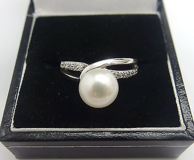 Handcrafted 925 Sterling Silver Freshwater Cultured Pearl Ring Size O UK 7 US #9