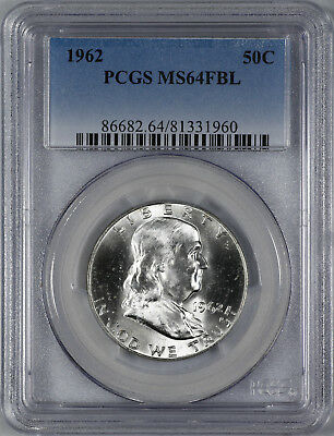 1962 Franklin Half Dollar 50C Pcgs Certified Ms 64 Fbl Full Bell Lines (960)