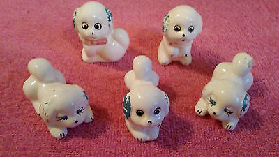 Vintage Japanese Puppy Dog Family Figurines - Hand Painted Porcelain - Lot of 5