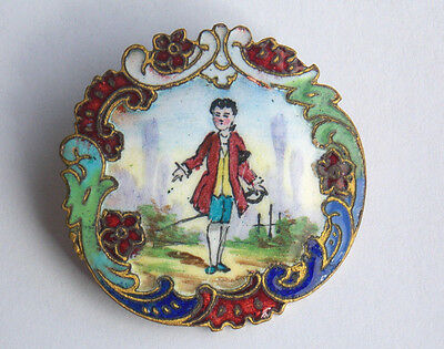 Large 31mm antique French button rococo hand painted gentleman champleve enamel
