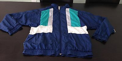 Vtg 80s Vengo Nyon Blue Green White Large Windbreaker Jogging TRACK SUIT Jacket