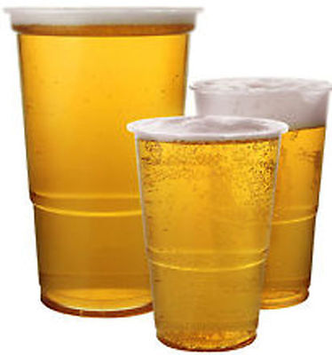 100 Disposable 250ml 500ml Pint Beer Strong Plastic Tumblers Cups Party JENA