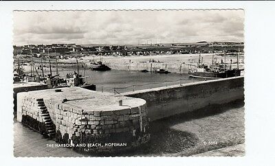 Postcard. The Harbour and Beach, Hopeman. Real Photo. Scotland ?