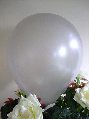 "50 SILVER BALLOONS 12"" HIGH QUALITY Air Helium LATEX Biodegradable Weddings"