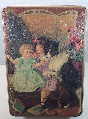 Vintage Collectible Tin with Two Victorian little girls with their Collie