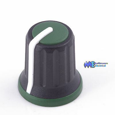 Green Tri-colour Knob 6mm splined