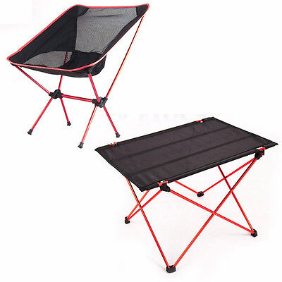 Portable Folding Aluminium Table Desk Chair Stool Camping Outdoor Picnic w/ Bag