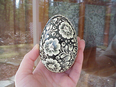 Hand Decorated REAL Goose Egg Scratched/Dyed/Pysanky Bird Easter Gift Decoration