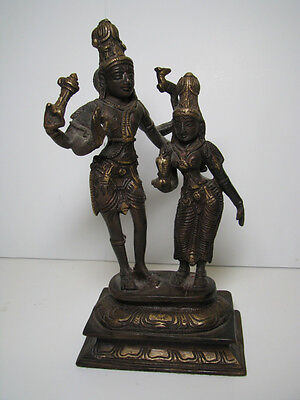 "SHIVA & PARVATI? Bronze Finish HEAVY CAST METAL STATUE Sculpture HINDU 8.5"" VTG"