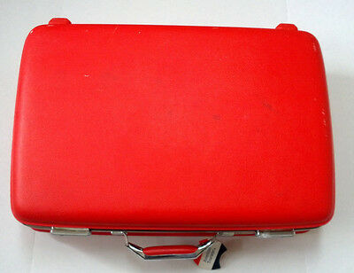 Vintage red Tiara American tourister hard shell suitcase with tags luggage