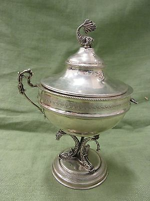 Vintage Italian 800 Silver Dolphin Fish Pedestal Covered Bowl with Spoon Holder