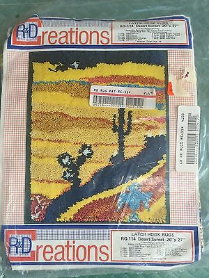 """Vintage R &D Creations Latch Hook Rug Canvas Only Desert Sunset 20"""" X 27""""  NEW"""