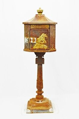 Early Cast Iron Pedestal Mailbox with Horse and Jockey Image