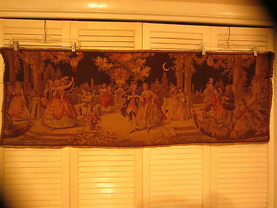 Vintage French Woven Courting Couples Tapestry Wall Hanging
