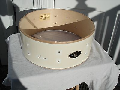 """2000's TAMA SuperStar Snare Drum 'SHELL'. 5""""x14"""". Bare Shell with Badge. WHITE"""