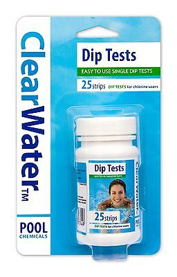Clearwater Dip Test Strips 25 Spa Swimming Pool Hot Tub Pools Chlorine Ph X Home