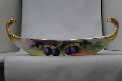 Limoges France Hand Painted Large Serving Dish Gold Eagle Head Handles Antique