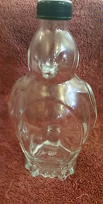 Clear Glass Penguin Figure Shaped Bottle with screw cap 12 oz