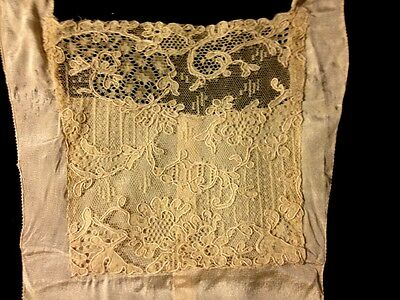 Antique Bobbin Brussels Lace Hand Made Needlework Inset, Jabot on Delicate Silk