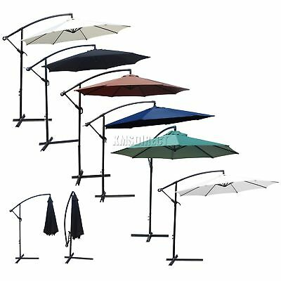 FoxHunter Garden Parasol Sun Shade Patio Banana Cantilever Hanging Umbrella 3m