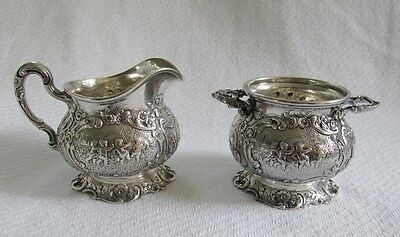 Marshall Field & Co Sterling Silver Cream & Sugar Set- Heavy Ornate Cherub Motif