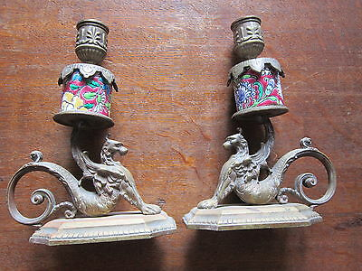 "Antique PAIR 19th C. FRENCH BRONZE MYTHICAL ""GRIFFIN"" CANDLE HOLDERS"