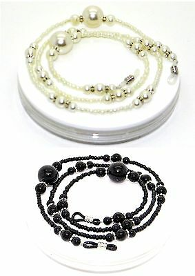 Glasses Cord Chain Necklace Strap - Handmade Large Pearls Design Beads B & W ~UK