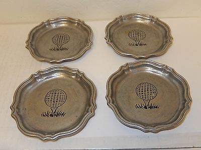 Pre-Owned 4  Pewter Plate / Candy Dish / Coasters Pewtarex Golf ball / Tee