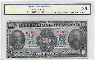 Imperial bank of Canada 1923 $10 ChoiceAU-58 PMCGS 375-18-08