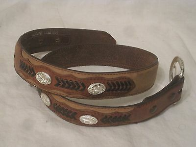 pre-owned Nocona leather belt Genuine Leather N4411244 26  tooled