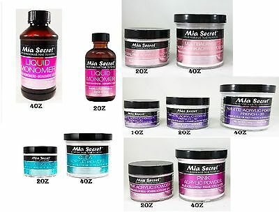 MIA SECRET LIQUID MONOMER 2oz /4oz &ACRYLIC POWDERS 1oz /2oz /4oz -Choose Combo