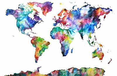 Watercolor Colorful World Map / High Quality Canvas home wall art & Decor
