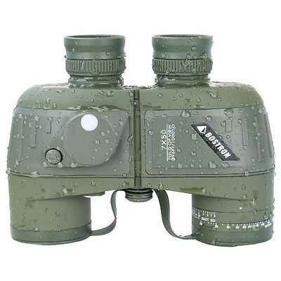 7X50 Military Marine Binoculars BAK4 Prism Waterproof With Range Finder Compass