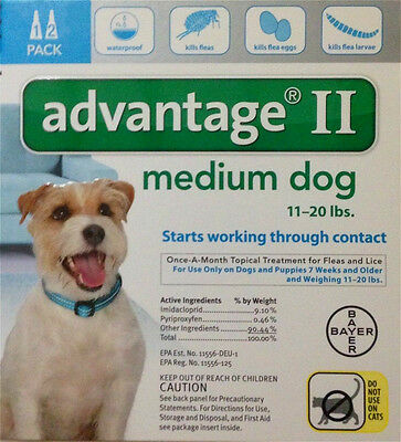 Advantage II For Medium Dogs 11-20 lbs, 2 Month Supply